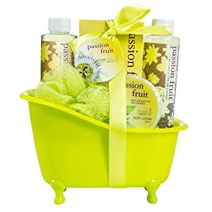 Bath, Body, and Spa Gift Basket for Women, in Passion Fruit Fragrance, includes a Shower Gel, Bubble Bath, Body Lotion, and a Bath Salt, with Shea Butter and Vitamin E to Moisturize and Nourish Skin