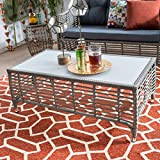 Modern Kambree All-Weather Wicker Driftwood Patio Outdoor Rectangular Coffee Table Comes in Driftwood Finish