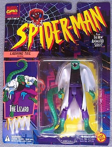 SPIDER-MAN ANIMATED SERIES:THE LIZARD LASHING TAIL ACTION FIGURE (WHITE SHIRT) (Lizard Man Action Figure)
