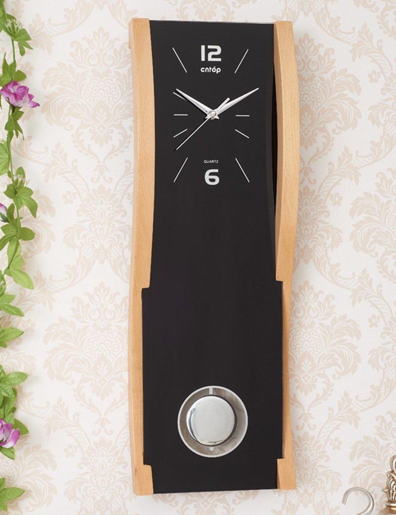 Cai 置き時計掛け時計-20インチ長ミュートガラス時計フェイスレッド三次元ウッドウォールクロック中国風ホームギフトパーソナライズされたアートリビングルームウォールクロック(カラーオプション) ( 色 : ブラック ) B07C52GG9G ブラック ブラック