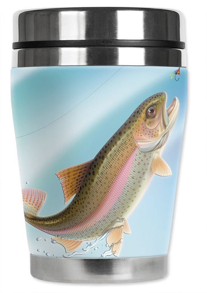 Mugzie Leaping FishMini Travel Mug with Insulated Wetsuit Cover Blue 12 oz