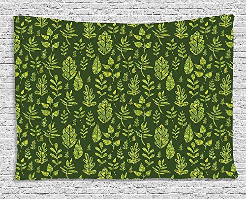 asddcdfdd Sage Tapestry, Patterned Green Leaves Nature Inspired Composition Fresh Trees Woodland, Wall Hanging for Bedroom Living Room Dorm, 80 W X 60 L Inches, Apple Green Dark ()