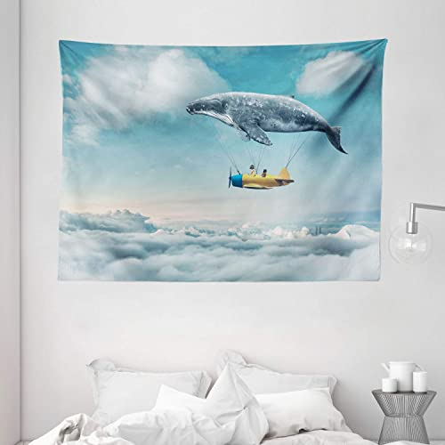 Ambesonne Whale Tapestry, Dreamy View of Whale and Aeroplane Fantasy Landscape Cloudy Sky Image, Wide Wall Hanging for Bedroom Living Room Dorm, 80 X 60 , Blue Yellow