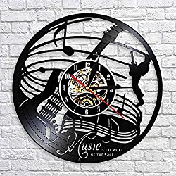Crazypicky Musical Instrument Guitar 3D Art Wall Decoraitve Music Is The Life Of Soul Wall Clock Vinyl Record LED Lighted Time Clock