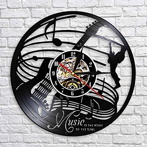Guitar Music Box (Crazypicky Musical Instrument Guitar 3D Art Wall Decoraitve Music Is The Life Of Soul Wall Clock Vinyl Record LED Lighted Time Clock)