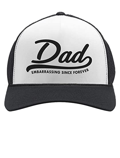 Amazon.com  DAD Embarrassing Since Forever Funny Trucker Hat Mesh Cap One  Size Black White  Clothing 31d4fb437a90