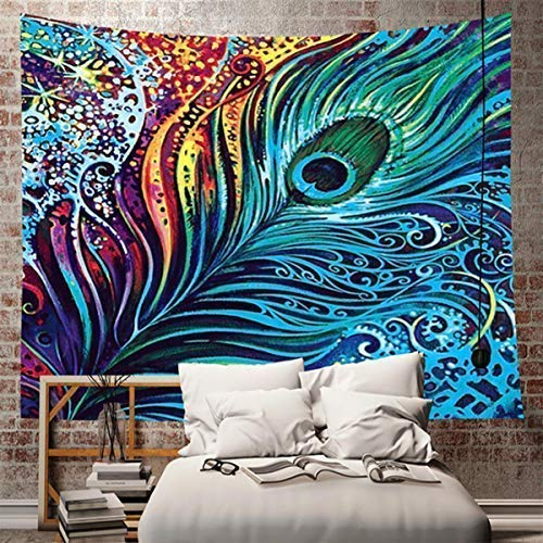 Multiart Colorful Peacock Feather Tapestry, Wall Hanging Psychedelic Tapestry for Bedroom Living Room Dorm (Colorful Peacock Feather, 59.1