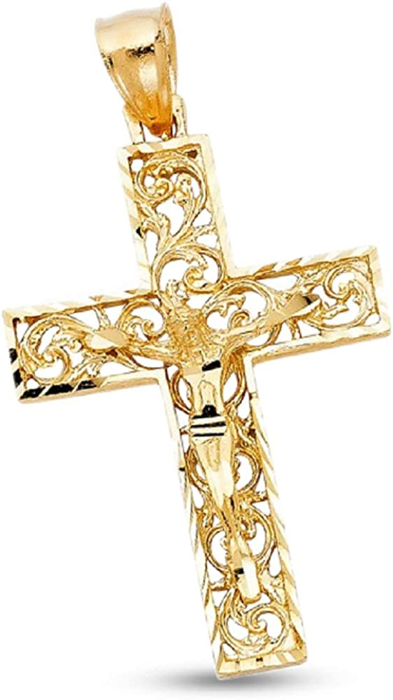 14k Solid Gold Diamond-cut Filigree Cross Pendant Charm