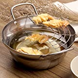Stainless steel Tempura Fryer Pot, Mini Deep Fry Pan with Drainer, 8 Inch (20 cm)