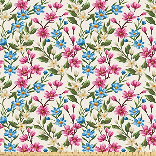 Ambesonne Flower Fabric by The Yard, Blooming Spring Flowers on Branches Romantic Bouquet Corsage Design Print, Microfiber Fabric for Arts and Crafts Textiles & Decor, 3 Yards, Yellow Pink Blue