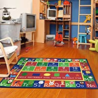 Kids Rug ABC Alphabet Numbers and Shapes Educational Area Rug Area Rug Non Skid Backing by Furnishmyplace