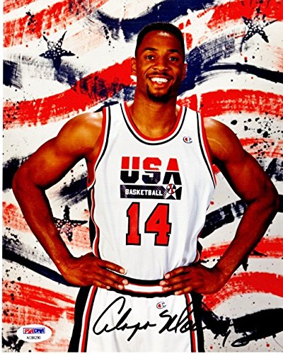 Alonzo Mourning Signed - Autographed Dream Team II 8x10 inch Photo - 2006 NBA Championship with Miami Heat - PSA/DNA Certificate of Authenticity (COA)