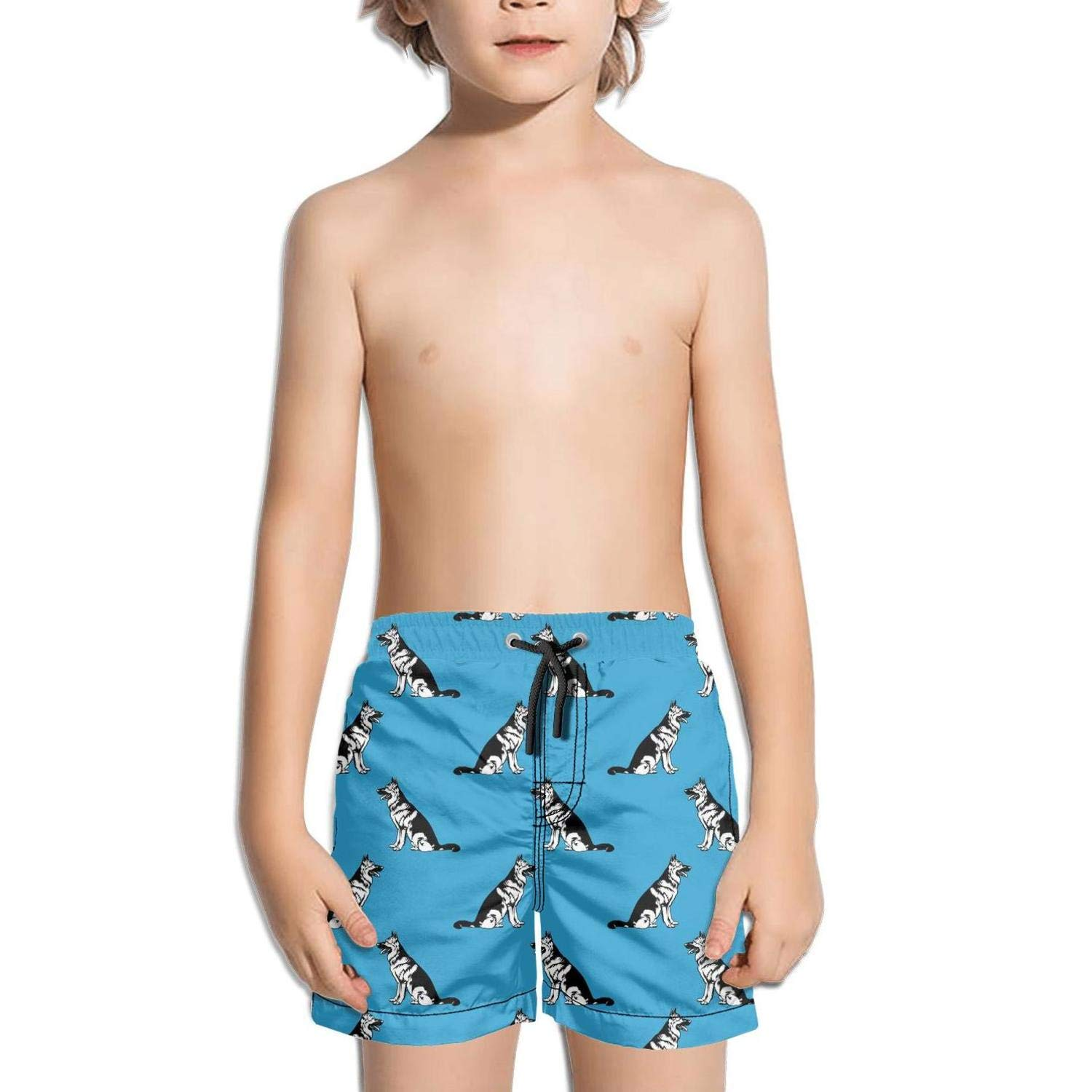 FullBo Love My German Shepherd Blue Pattern Little Boy's Short Swim Trunks Quick Dry Beach Shorts