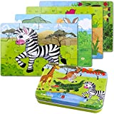 BBLIKE Jigsaw Wooden Puzzles Toy in a Box for Kids, Pack of 4 with Varying Degree of Difficulty Educational Learning Tool Best Birthday Present for Boys Girls (Zebra, Crocodile, Giraffe, Kangaroo)