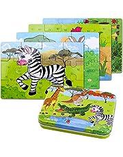 BBLIKE Jigsaw houten puzzels speelgoed in een doos voor kinderen, 4 stuks met verschillende moeilijkheidsgraad, educatief leergereedschap, beste verjaardagscadeau voor jongens meisjes (zebra, krokodil, giraffe, kangoero)