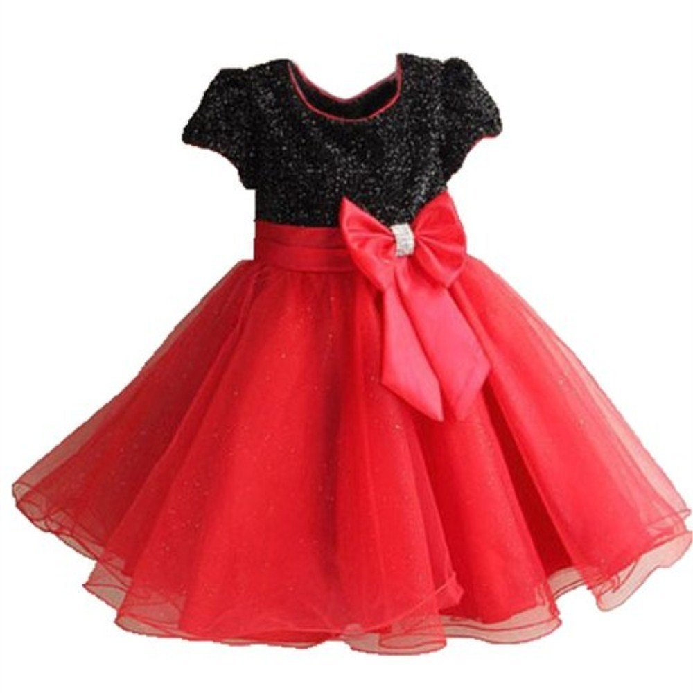 BUYEONLINE Girls Princess Bridesmaid Wedding Party Bow Dress 6-7 Years,Black andamp; Red