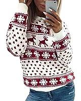 PrettyMy Women's Christmas Reindeer Snowflake Long Sleeve Pullover Tops Hoodie Sweatshirt