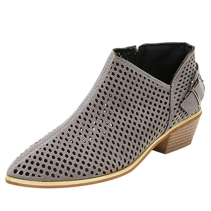 Longra Zapatos con Punta en Punta para Mujer, Botines de Color Puro, Hebilla, Correa, tacón Cuadrado, Zapatos Individuales: Amazon.es: Ropa y accesorios
