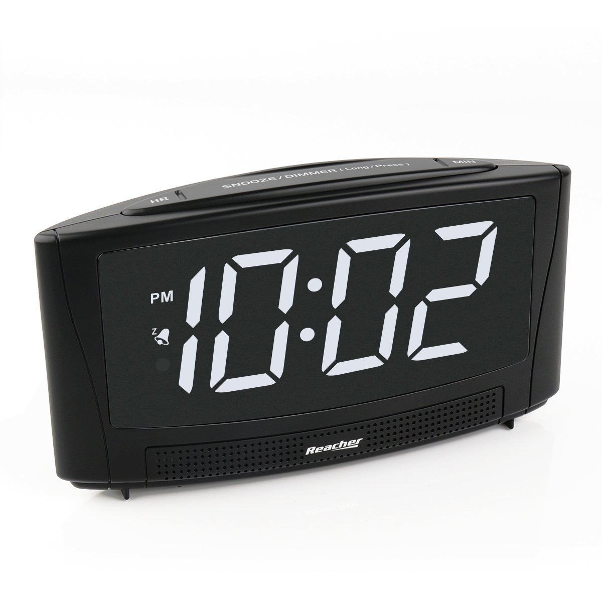 ReacherDigitalAlarmClock with USB Charger Port 6''Large Electric LED Display SimpleOperation and Easy Snooze Outlet Powered forBedrooms Bedside Phone iPhone - Black