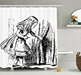 Designer Shower Curtains Ambesonne Alice in Wonderland Decorations Shower Curtain Set By, Black and White Alice Looking Through Curtains Hidden Door Adventure, Bathroom Accessories, 69W X 70L Inches, Black White