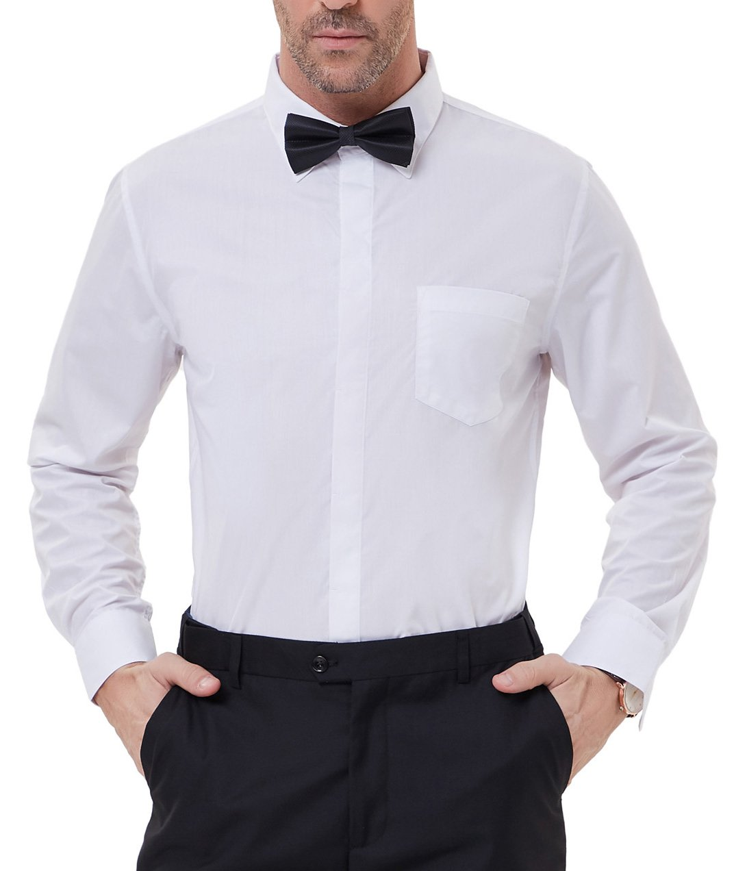 PAUL JONES Men's Business Casual Shirt Long Sleeves White Dress Shirts for Summer by PAUL JONES