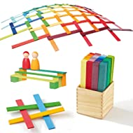 Leonardo Da Vinci's Bridge - Wooden Construction Sticks Building Blocks Toy in Rainbow Colors