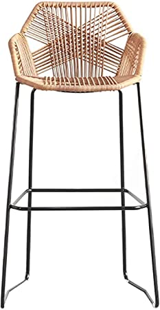 Amazon Com Barstools Wrought Iron Kitchen Counter Chairs Breakfast Bar High Stool Rattan Wicker Chair For Pub Cafes Garden Stools Sitting Height 65 75cm Furniture Decor