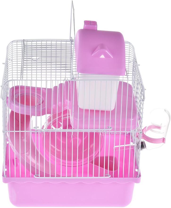 Pequeñas jaulas de plástico para mascotas, hámster de alambre, jaula de doble cubierta pequeña para comer jugar castillo de ejercicio para animales pequeños