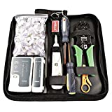 IWISS InstallerParts 8 Pieces Network Installation Tool Kit -- Includes LAN Data Tester, RJ45 RJ11 Crimper, Module Punch Down Tool, Stripper, Screwdriver And 100 Pieces Rj45 Cat5 Cat5e Connector Plug With Oxford Bag