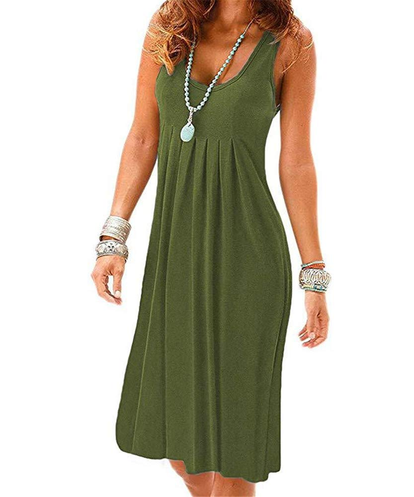 New Solid color Dress Large Size Round Neck Vest Skirt Sleeveless Holiday Dress,Green,S
