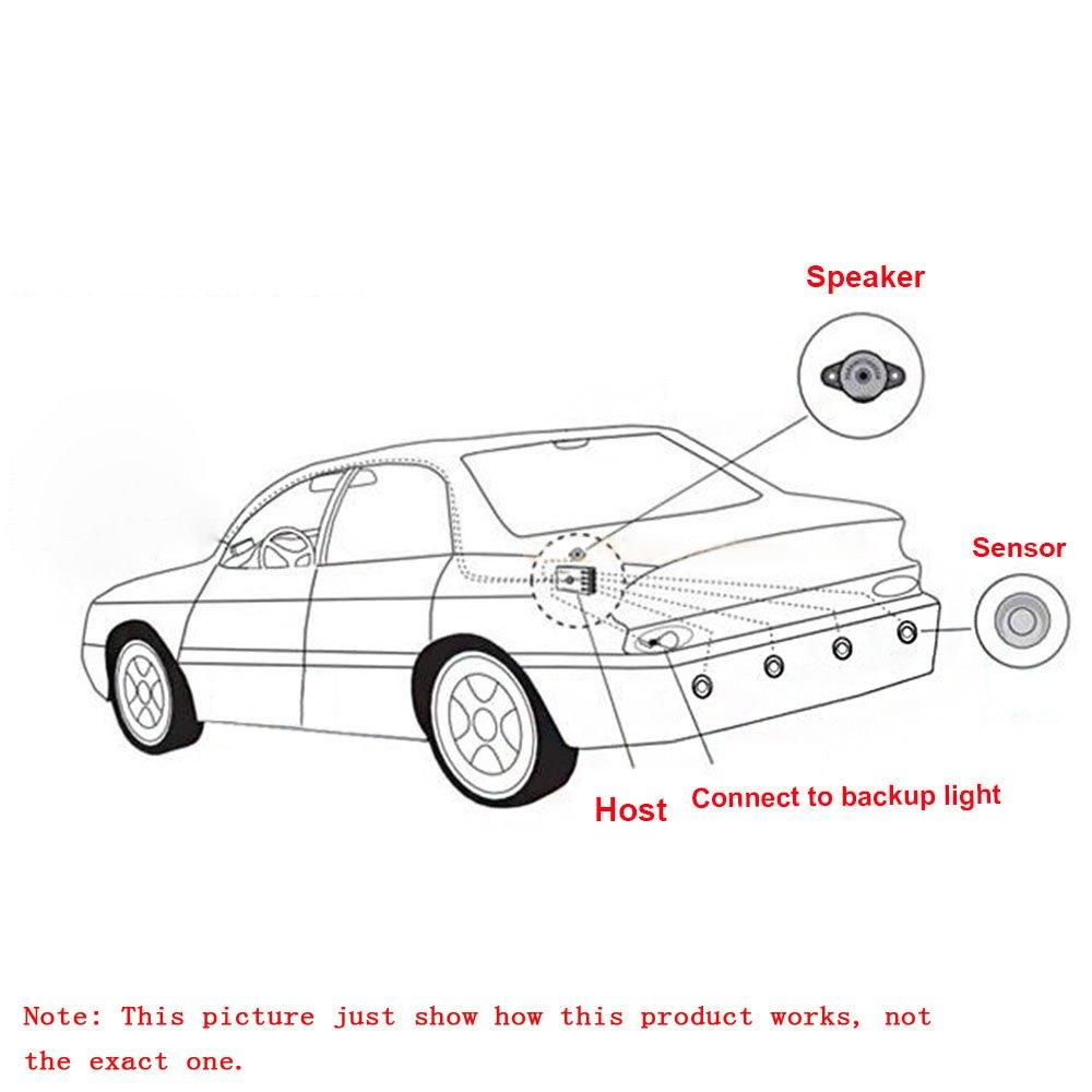KKmoon Auto R/ückfahrwarner Einparkhilfe 4 Sensoren Einparkassistent Einparksystem Akustische Warnung mit LED Anzeigen