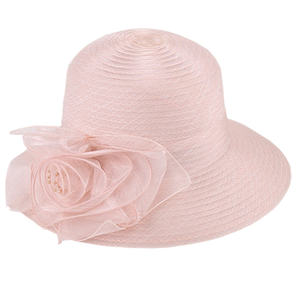 Nercap Women's Fascinator Tea Party Wedding Church Dress Kentucky Derby Hats Wide Brim Summer Cap (Light Pink)