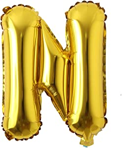 "16"" inch Single Gold Alphabet Letter Number Balloons Aluminum Hanging Foil Film Balloon Wedding Birthday Party Decoration Banner Air Mylar Balloons (16 inch Gold N)"
