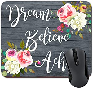 Inspirational Quote Dream Believe Achieve Mouse Pad Watercolor Flowers On Faux Wood Mousepad Coworker Office Gifts for Women Desk D¨¦cor