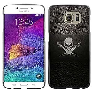 For Samsung Galaxy S6 Case , Pirate Symbole Inscription Skull Swords bateau à voile - Diseño Patrón Teléfono Caso Cubierta Case Bumper Duro Protección Case Cover Funda