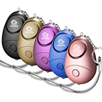 WOHOME Safe Personal Alarm, 5 Pack Safesound Personal Alarm with LED Light Emergency Safety Alarm Keychain for Women, Girls, Kids, Elderly, 5-Color