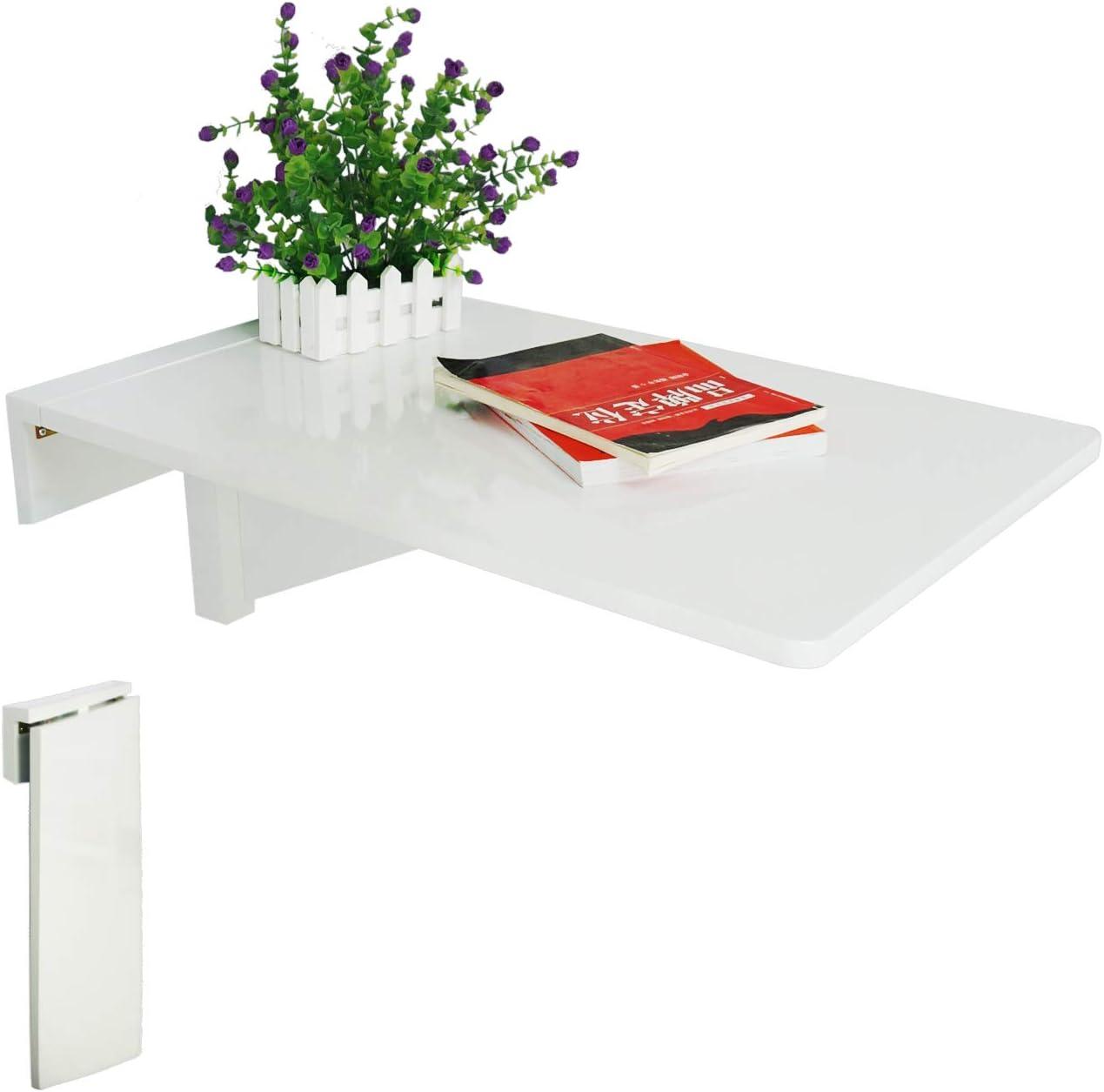 Mesa, simple y plegable de JinQi, con soporte de pared, 70x 45cm, color blanco