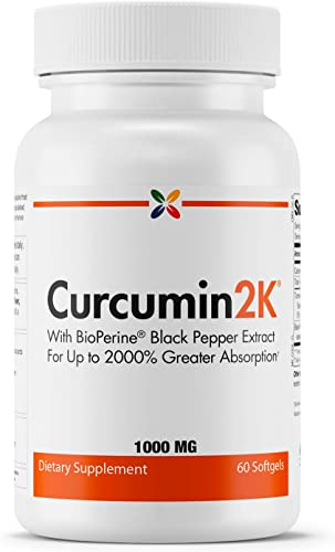 Stop Aging Now – Curcumin2K Formula with Black Pepper – with BioPerine Black Pepper Extract for Up to 2000 Greater Absorption – 60 Softgels