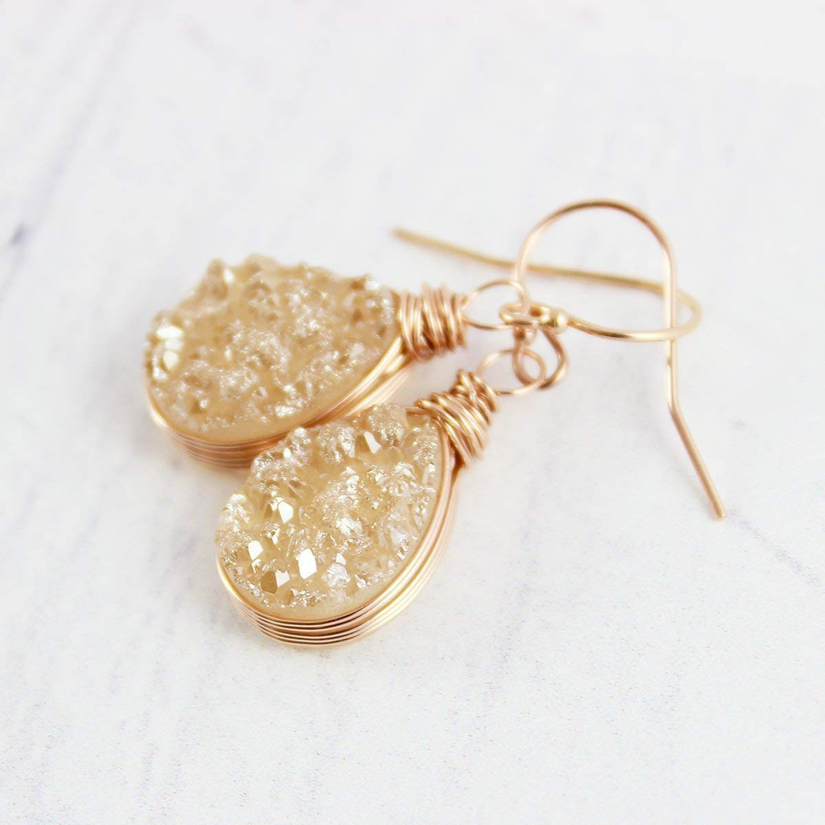 dbb90f9e7c66f Champagne Druzy Rose Gold Teardrop Earrings
