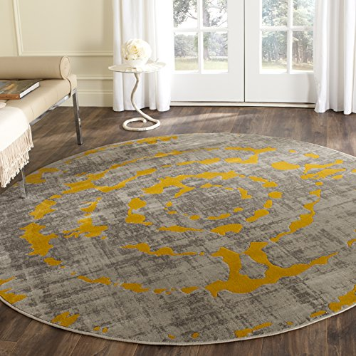 Safavieh Porcello Collection PRL7735C Light Grey and Yellow Round Area Rug (6'7