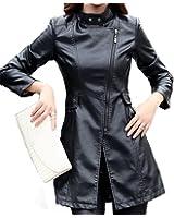 Helan Donna Cuoio sottile rivestimento di cuoio cappotto lungo