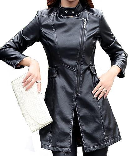 Helan Mujeres Delgada de cuero de la PU la capa larga chaqueta de cuero