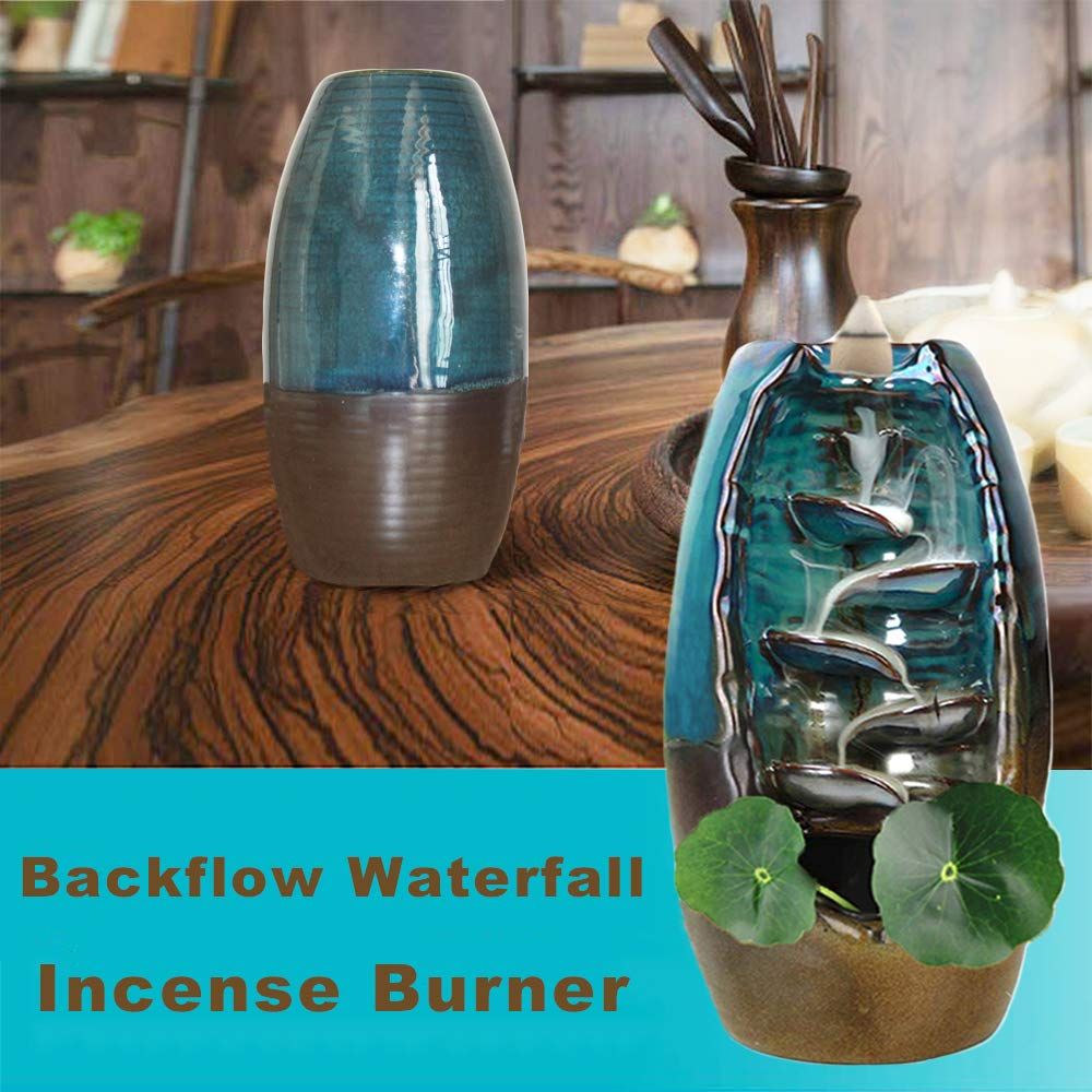 TuoFang Incense Burner, Ceramic Waterfall Backflow Incense Burner Holder Creative Aromatherapy Ornamental Home Decor with Incense Cones, Cushion, Artificial Lotus Leaf by TuoFang (Image #2)