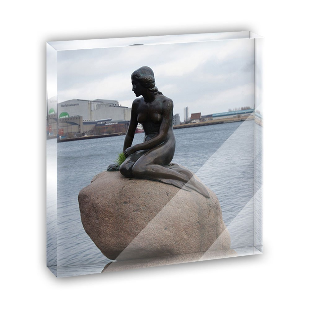Little Mermaid of Copenhagen Denmark Acrylic Office Mini Desk Plaque Ornament Paperweight