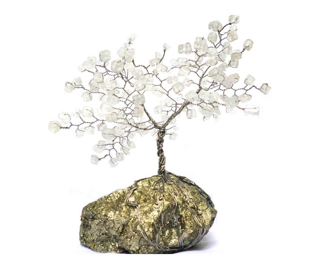 Amazon.com: Wire tree sculpture on pyrite - home decor - quartz tree ...