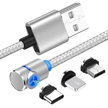 forepin 3 en 1 Cable Magnético Cable Magnética de Carga con Imán Magnético para Cargador Micro USB Carga Rápida para iPhone y Android (Plata)