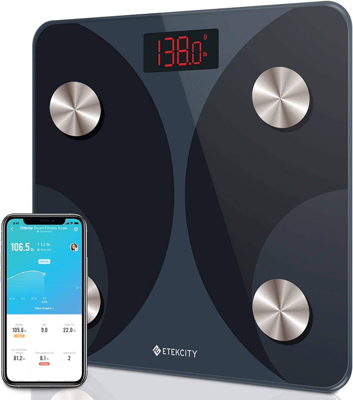 Etekcity Smart Digital Weight Scale Bathroom Body Fat Analyzer Tracks 12 Key Compositions 400 lbs, Black