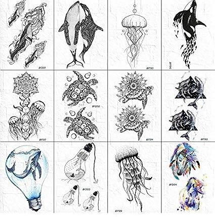 yyyDL etiqueta engomada colorida del tatuaje 3D Tortuga Tatuajes ...