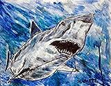 Shark art artwork Flossing bathroom signed art print