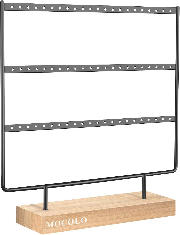 Mocolo - Organizador de pendientes, soporte para pendientes (66 agujeros y 3 capas)